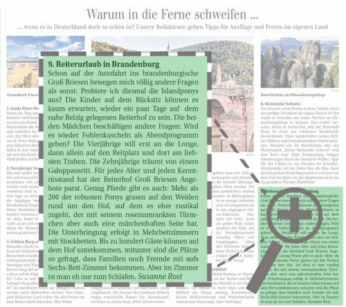 Reiterhof Groß Briesen in der Berliner Zeitung